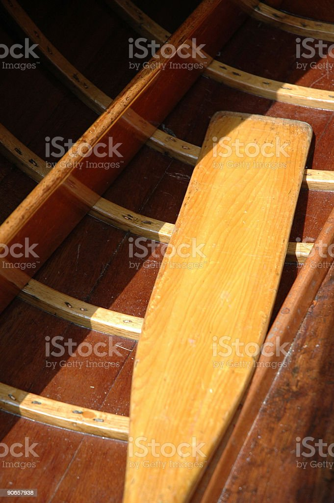 Boat - varnished oar royalty-free stock photo