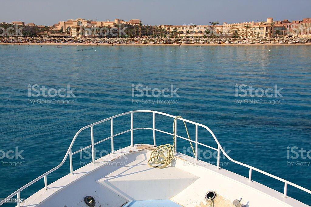 Boat view of Makadi bay Hurghada stock photo