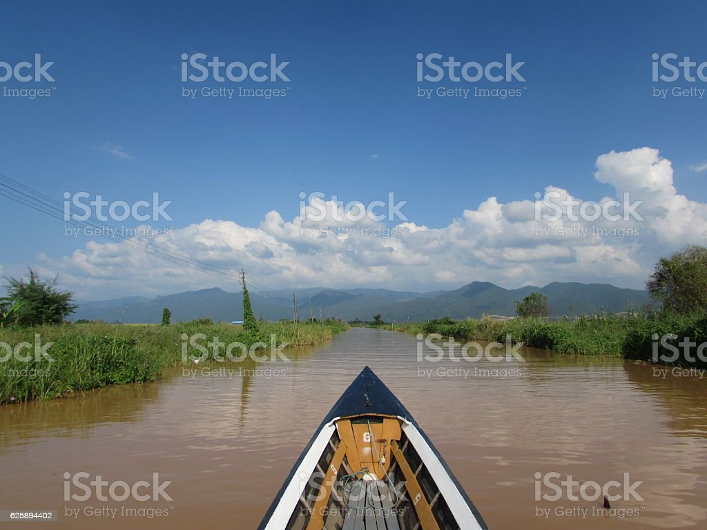 Boat view on the river stock photo