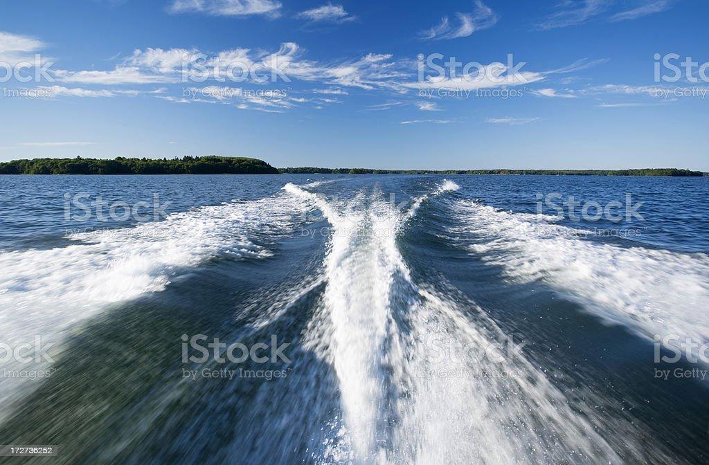 boat wake royalty-free stock photo