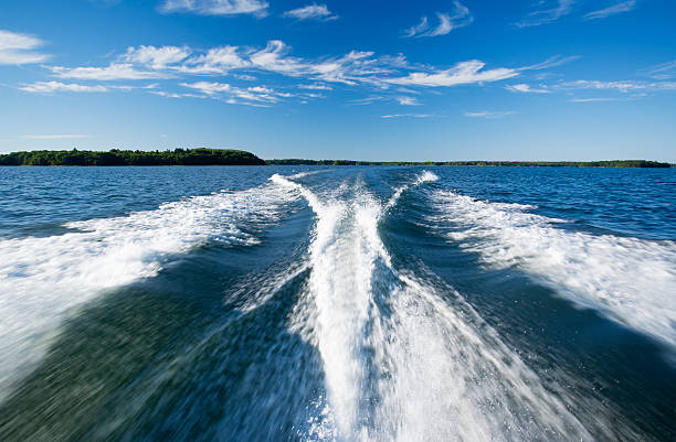 boat wake stock photo