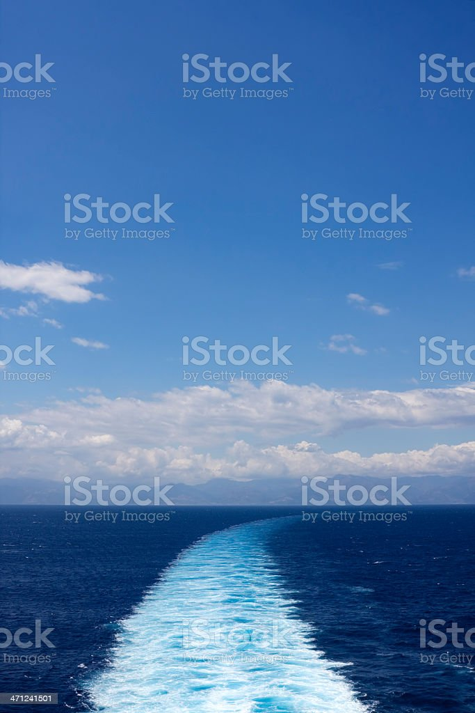 Boat wake, with copy space royalty-free stock photo