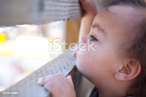 Boy watches boats in the San Francisco harbor through opening in fence