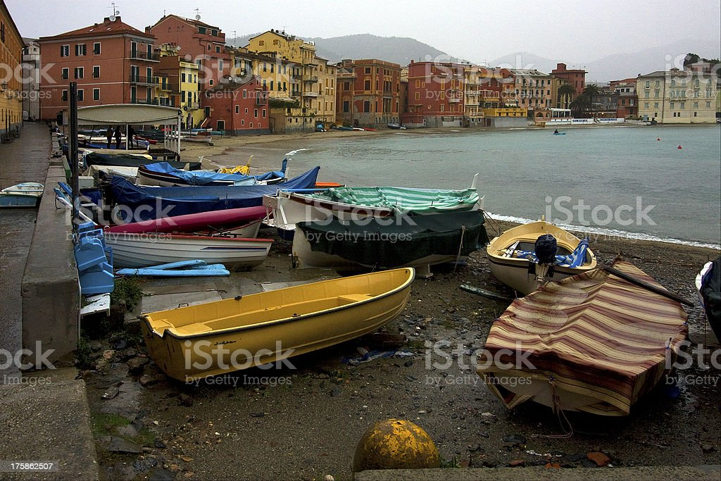 boat water house and coastline in sestri levante royalty-free stock photo