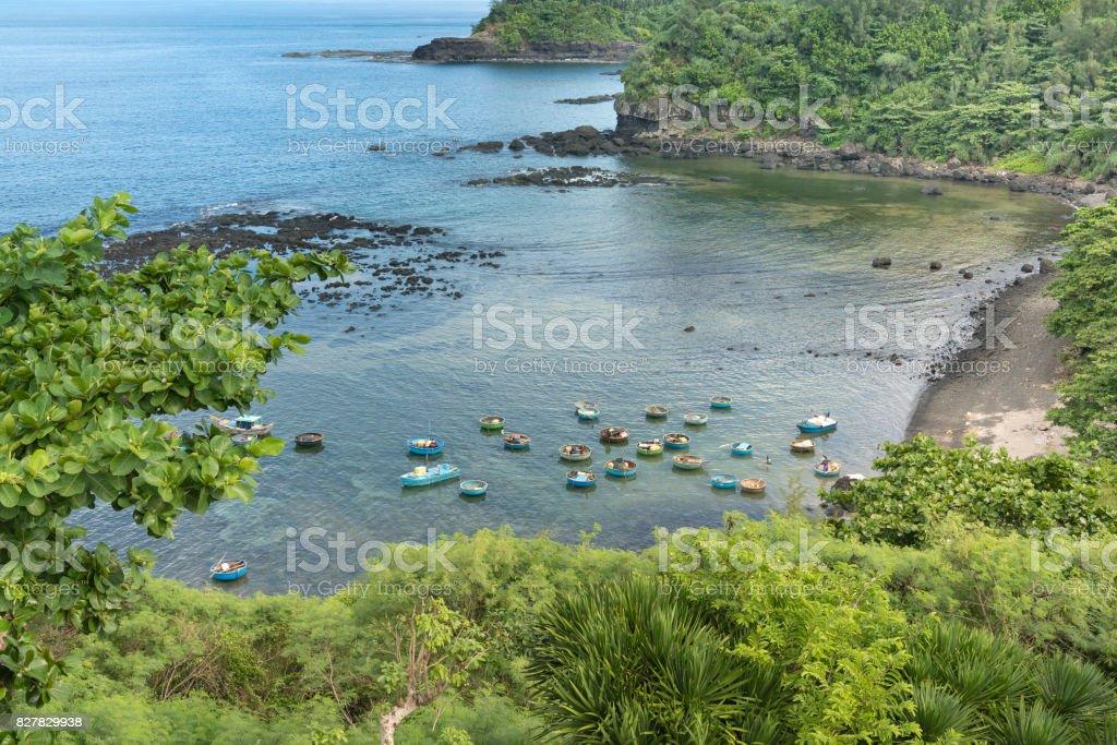 Boat wharf, Resting place of fishermen at Ba Lang bay stock photo