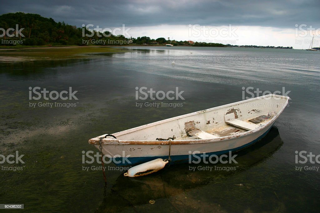 Boat  with Gathering Storm royalty-free stock photo