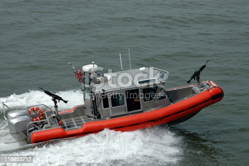 A boat from the US Coast Guard. Picture taken near the Statue of Liberty.