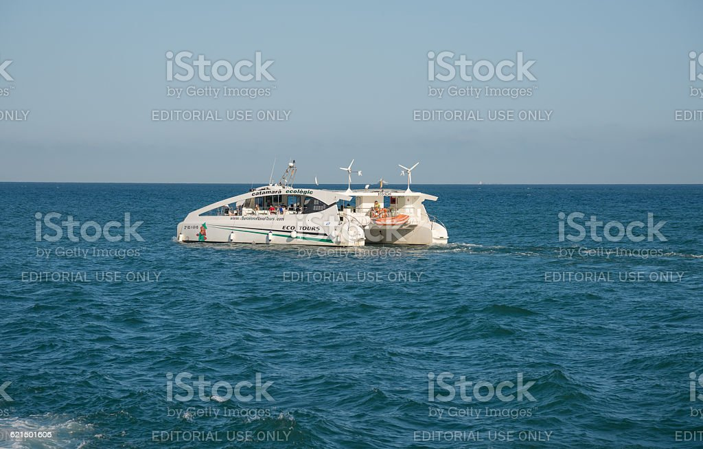boat with people in the port of Barcelona- Spain foto stock royalty-free