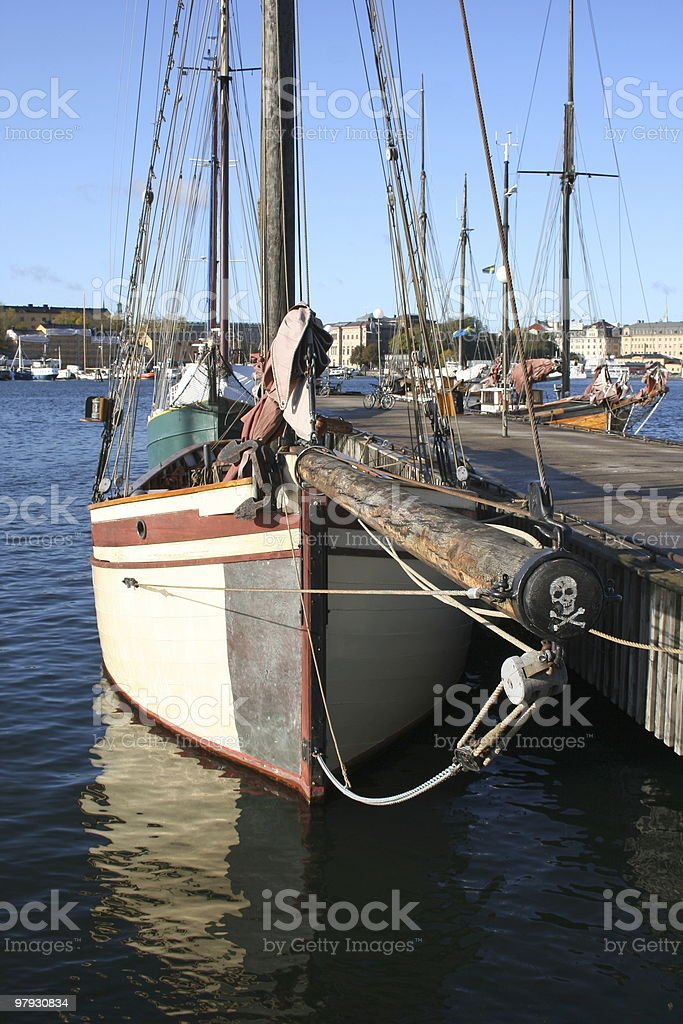 Boat with skull symbol royalty-free stock photo