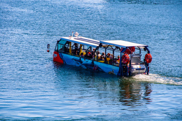 A boat with tourists. stock photo