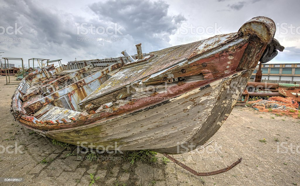 Boat wreck stock photo