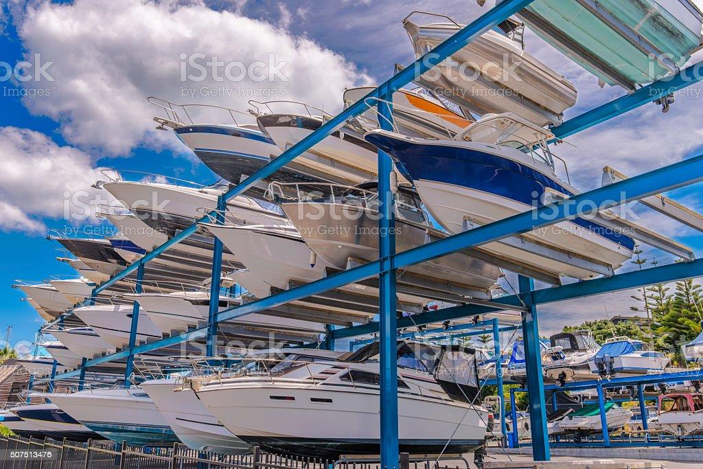 Boat, yachts waiting for maintenance stock photo