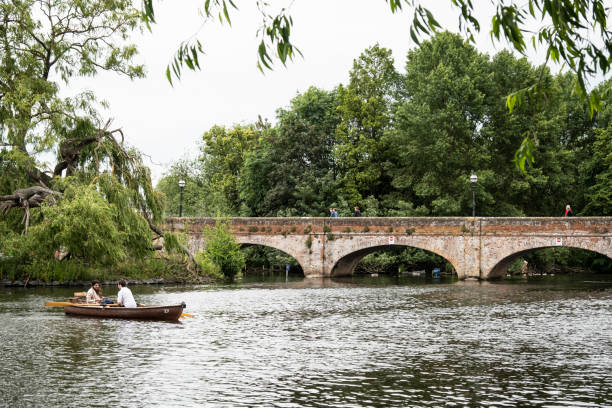 Boaters on the River Avon stock photo