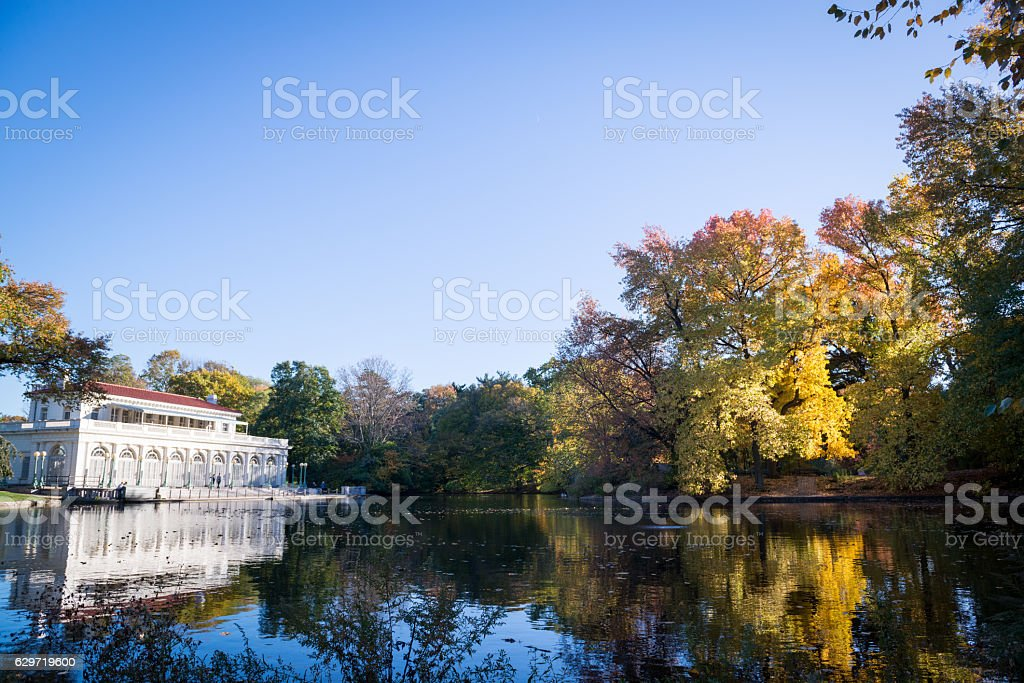 Boathouse and Lake at Prospect Park stock photo