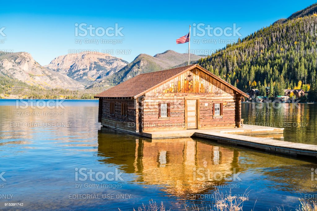 Boathouse at Grand Lake in Rocky Mountains National Park Colorado USA stock photo