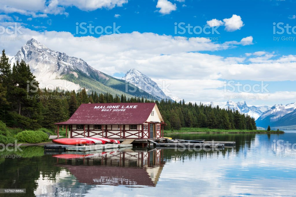 Boathouse at Maligne Lake in the Canadian Rocky Mountains of Jasper National Park, Alberta, Canada stock photo