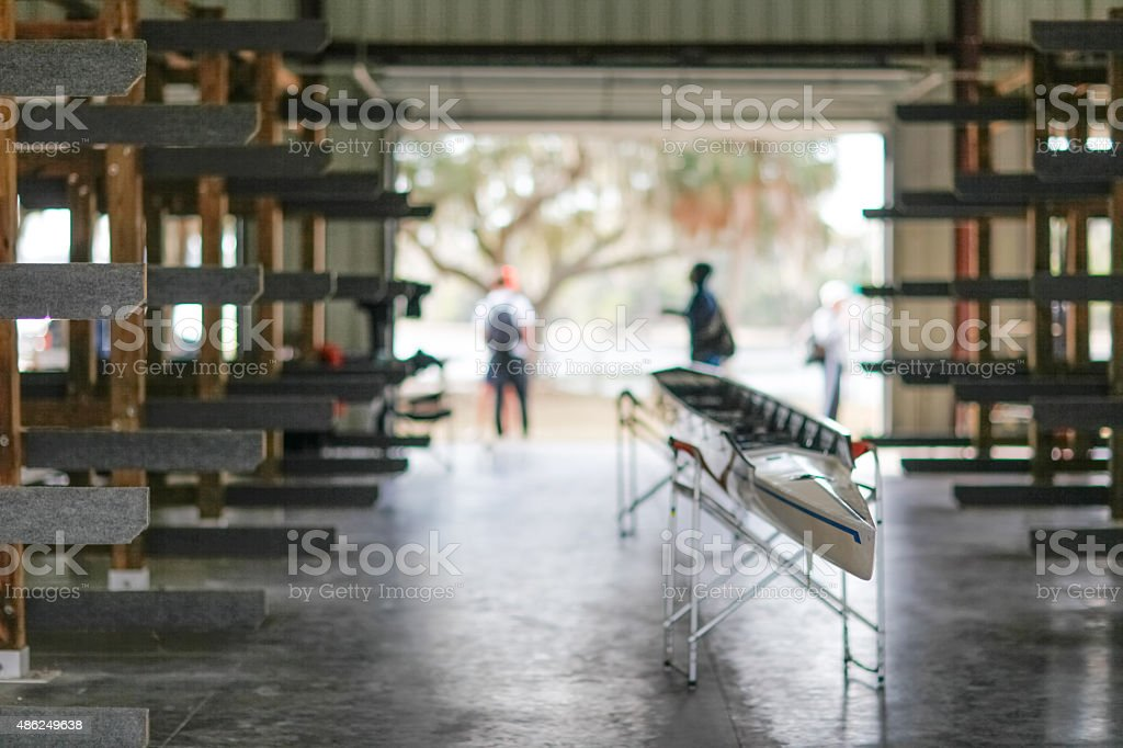 Boathouse for competitive rowing at a college stock photo
