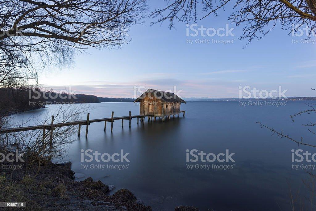 Boathouse in Stegen am Ammersee stock photo