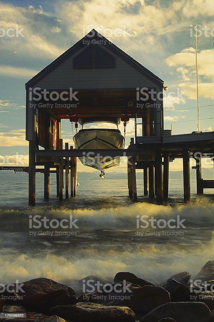 Boathouse on lake Tahoe royalty-free stock photo