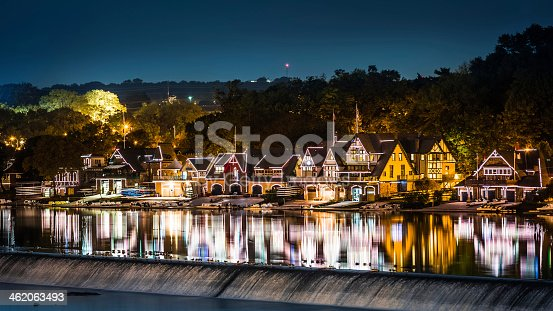 Boathouse Row by night taken from Spring Garden bridge in Philadelphia. Boathouse Row is a historic site located on the east bank of the Schuylkill River.