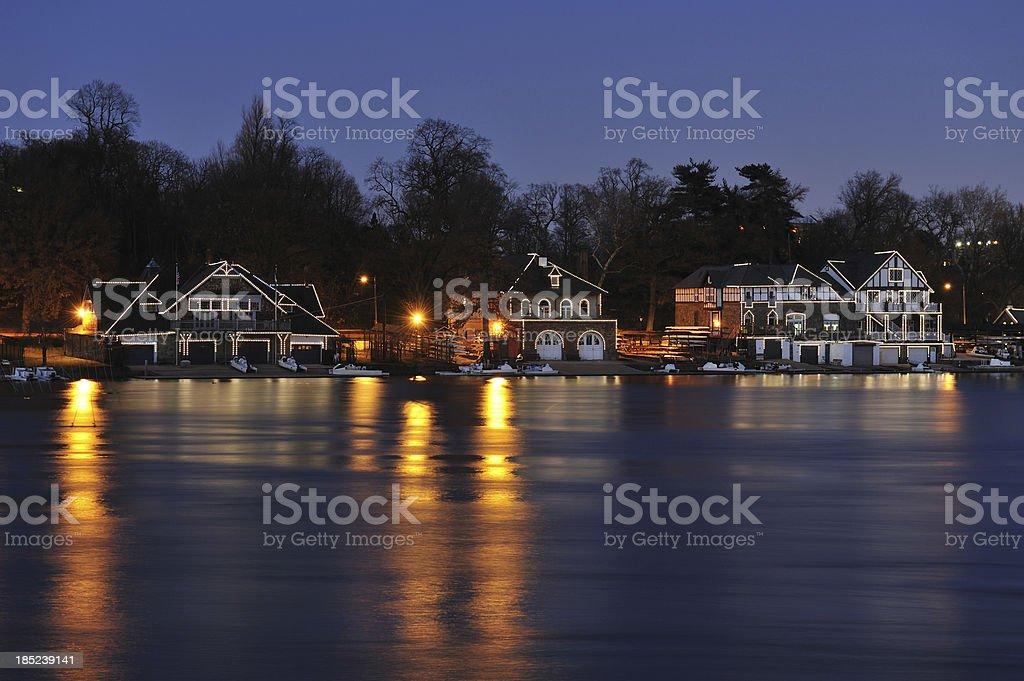 Boathouse Row in Philadelphia stock photo