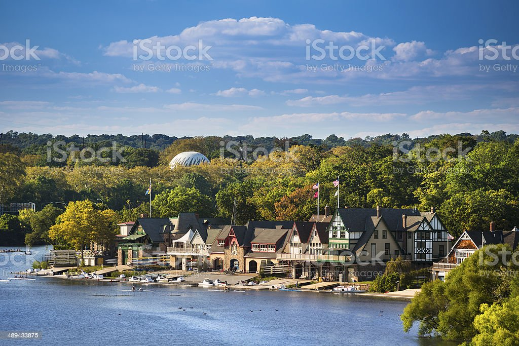 Boathouse row in Philadelphia stock photo
