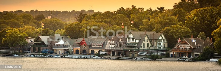 19th-century boat houses line the Schuylkill River just west of the Philadelphia Museum of Art in Pennsylvania USA