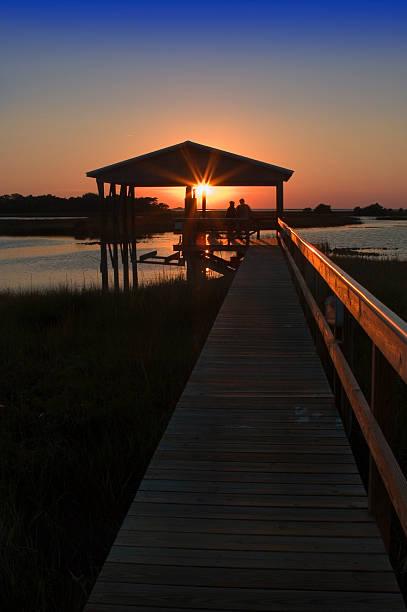 Boathouse Sunset stock photo