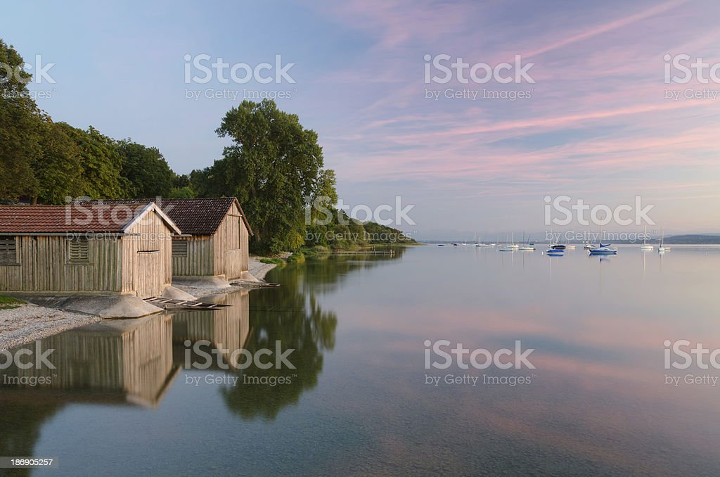 Boathouses at Lake Ammersee stock photo