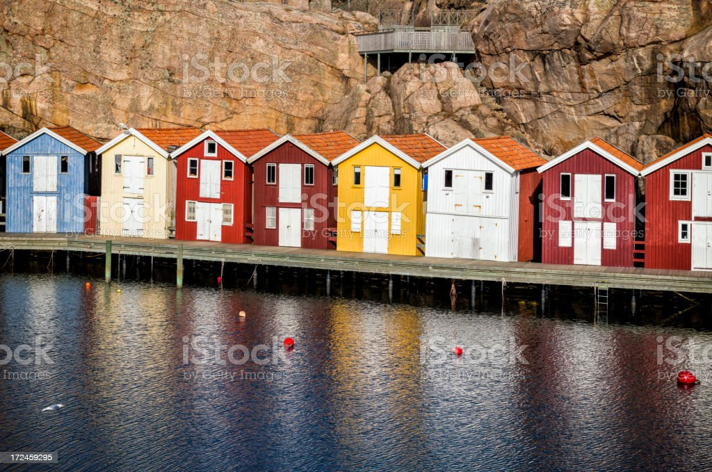 Boathouses lined up royalty-free stock photo