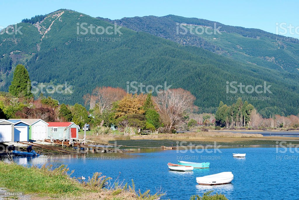 Boathouses on the Marlborough Sounds, New Zealand stock photo