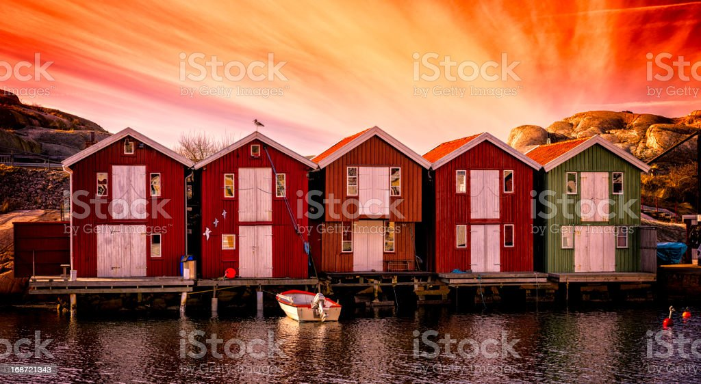 Boathouses panorama stock photo