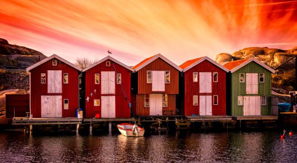Boathouses panorama stock photo