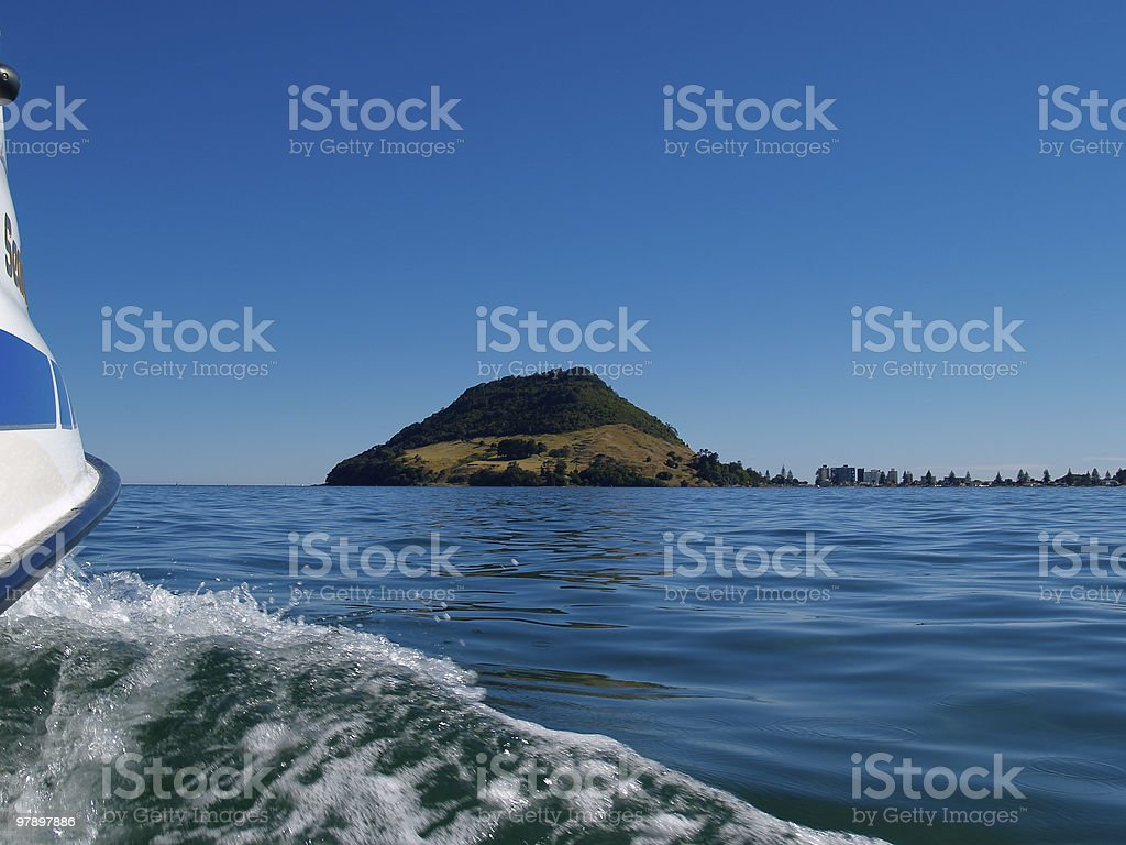 Boating across Tauranga Harbour. royalty-free stock photo
