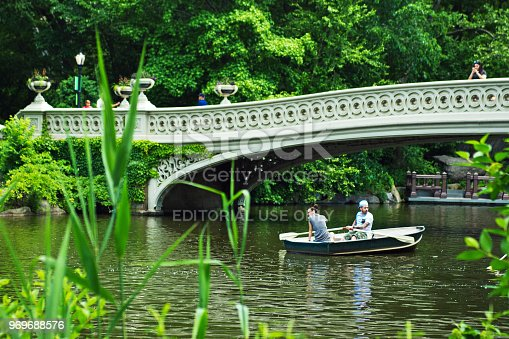 Rowing boats and a couples on a lake in Central Park, New York. The Bow Bridge is in the background.