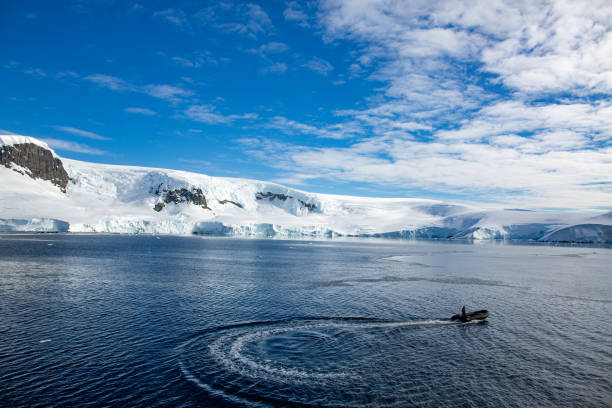 Boating in the Antarctic peninsula stock photo