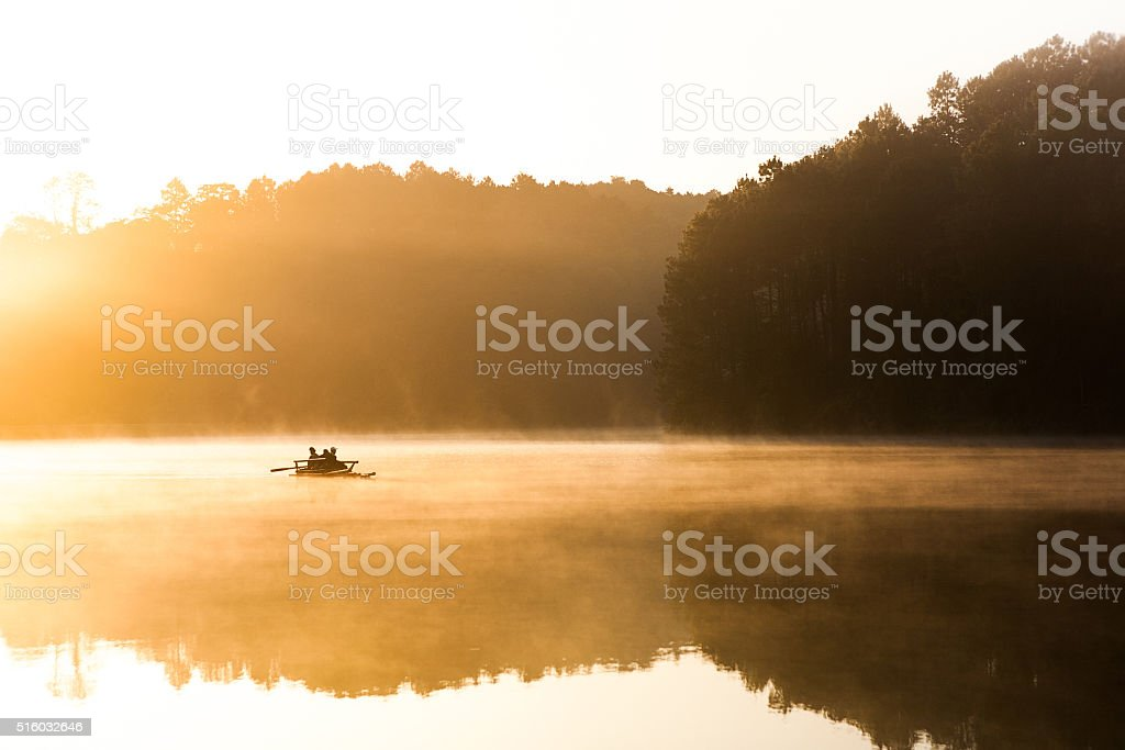 Boating in the big reservoir stock photo