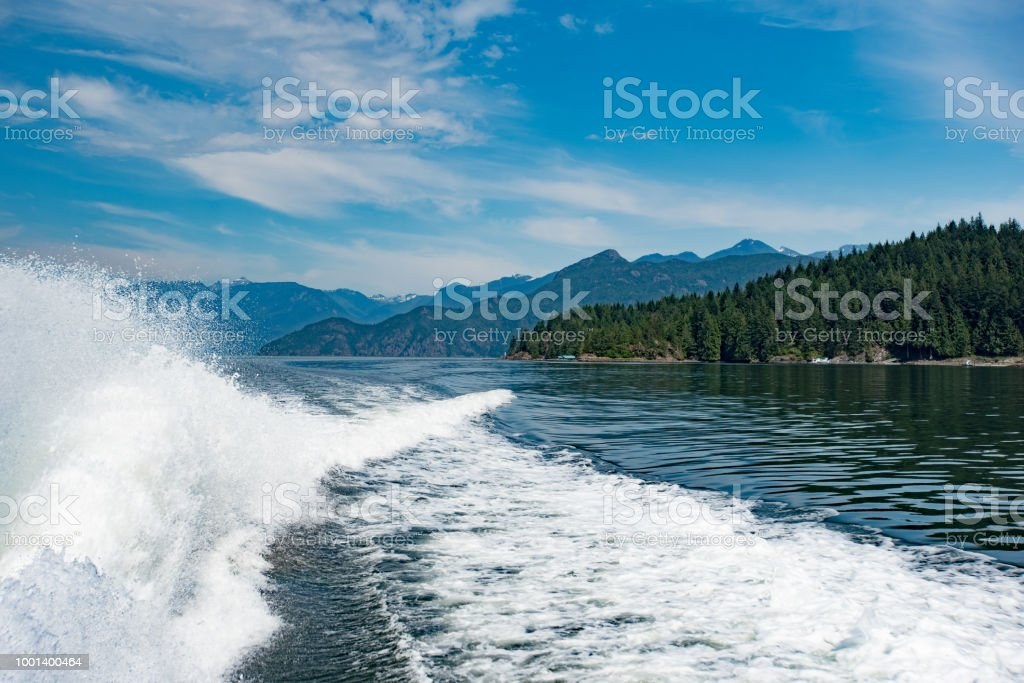 Boating in the north vancouver islands stock photo