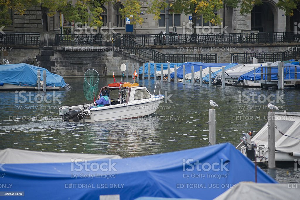 Boating in Zurich stock photo
