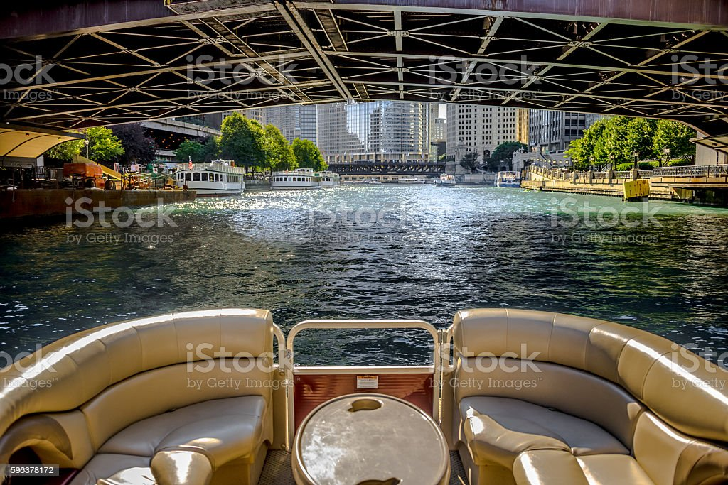 Boating on Chicago River stock photo