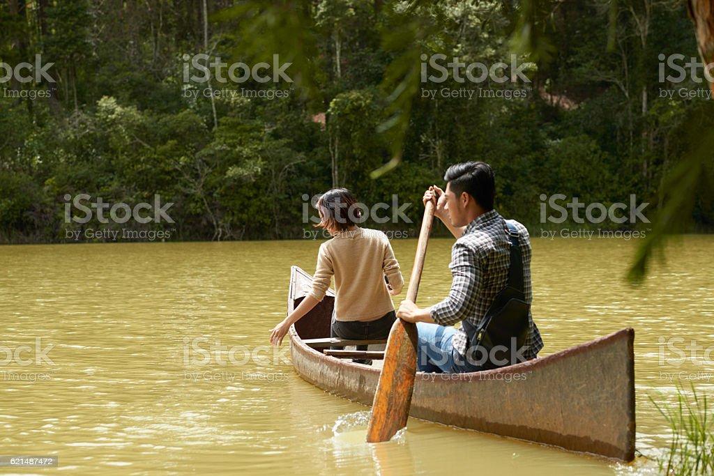 In barca sul lago di foto stock royalty-free
