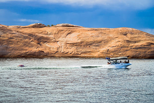 Boating on Lake Powell stock photo