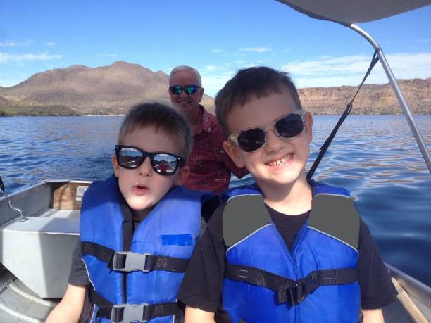 Boating on Saguaro Lake stock photo