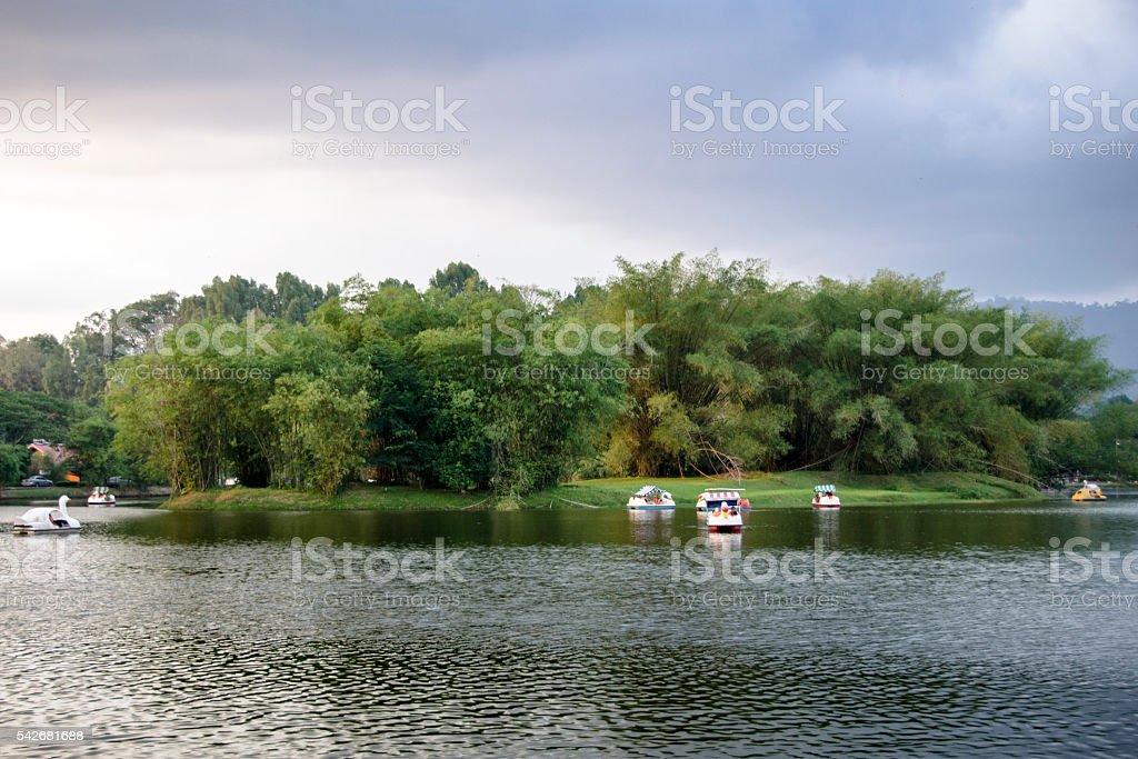 Boating on Taiping Lake, Taiping at Sunset, Malaysia stock photo