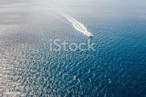 Aerial view of speedboat
