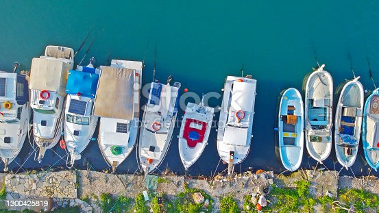 Boats. Aerial view of colorful boats in aegean sea in izmir
