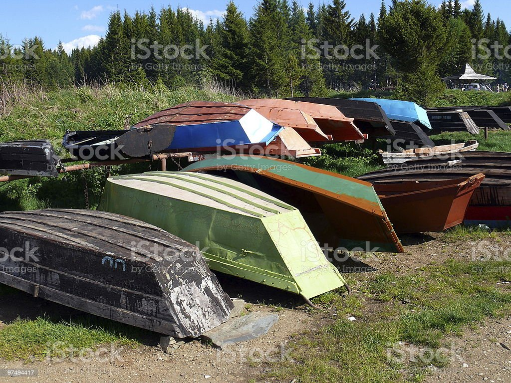 boats after repairing in the shore royalty-free stock photo