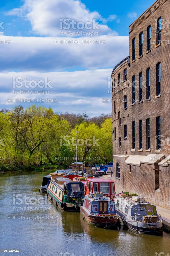 Boats along the Regents Canal in London stock photo