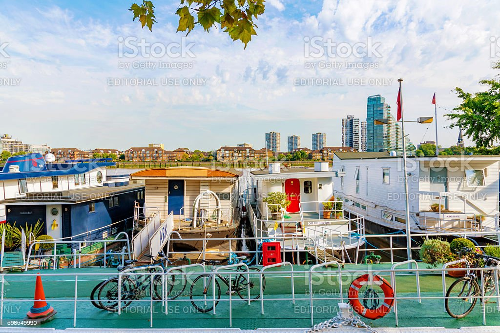 Boats along the river thames in Chelsea stock photo