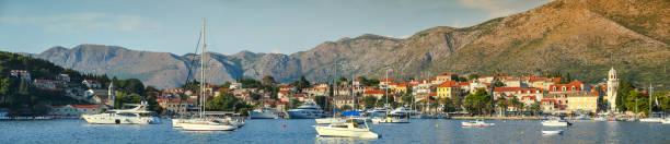 Boats anchored at Cavtat seaside stock photo